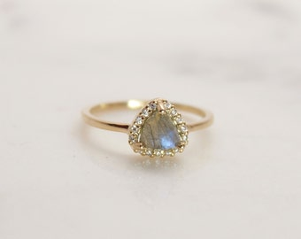 Labradorite Pave Halo Triangle Ring - Gift for her - Petite Jewelry - Labradorite Gold Ring