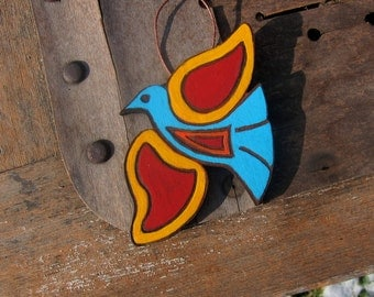 Hand Painted Psychedelic Bird Ornament Four