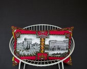 Silver Jubilee Windsor Castle Pillow Buckingham Palace Cushion 1977 gift, British decor, Queen, London, Upcycled Recycled Vintage Tea Towel