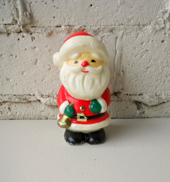 Lot Of 5 Vintage Christmas Decorations Kitsch Santa Claus: Vintage Santa Candle 1970s Retro Hong Kong Red Santa Claus
