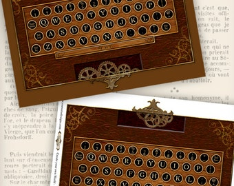 Steampunk Keyboard Printable instant download Digital Collage Sheet VDMIST0673