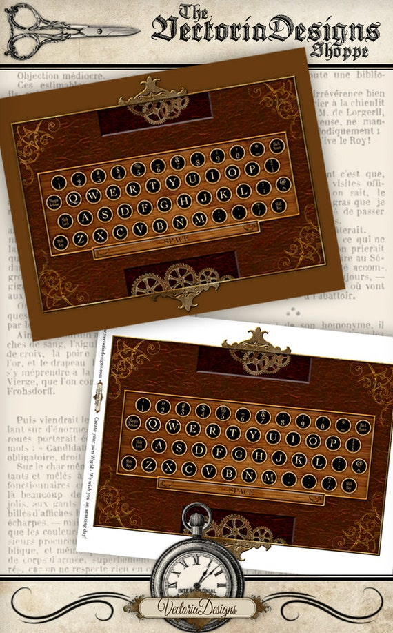 Steampunk Keyboard Printable instant download Digital Collage Sheet VDMIST0673 by VectoriaDesigns steampunk buy now online