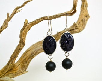 Silver Earrings/ Black sand stone and Lava Stone or White Agate and Coral / Semiprecious Stone