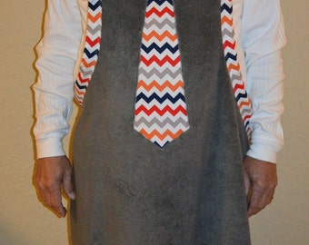 Baby Bath Apron Towel for Dads, Gray with Multi-Colored Tie