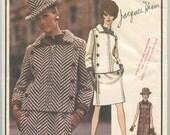 1960s Vogue Paris Original 1919 JACQUES HEIM Misses Mod Slim Dress and Jacket Button Trim Vintage Sewing Pattern Bust 31 UNCUT