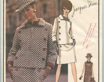 1960s Vogue Paris Original 1919 JACQUES HEIM Misses Mod Slim Dress and Jacket Button Trim Vintage Sewing Pattern Bust 31 UNCUT