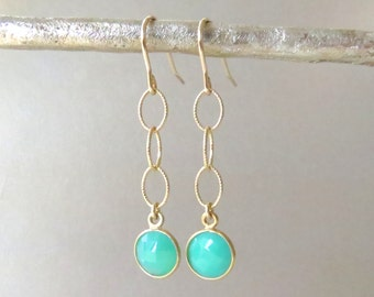 Gold Dangle Earrings with Chrysoprase Accents