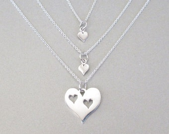 Mother & Daughters Heart Necklace Set - Mommy Necklace - Daughter Necklace