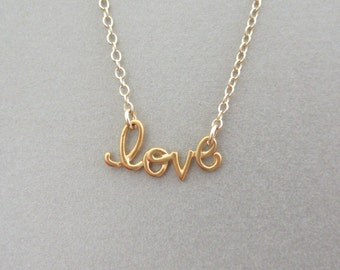 Cursive Love Gold Necklace - Love Charm Necklace - Gold Necklace