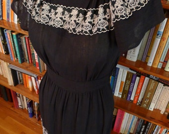 SHEER BEAUTY-- Beautiful 1930s or Early 1940s Black Rayon Ethnic Themed Dress with Embroidery-S