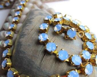 Vintage Opal Blue  Rhinestone Chain