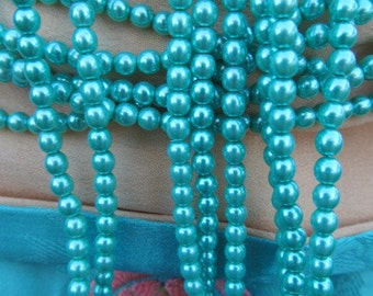 Beautiful Small Caribbean Aqua Glass Pearl
