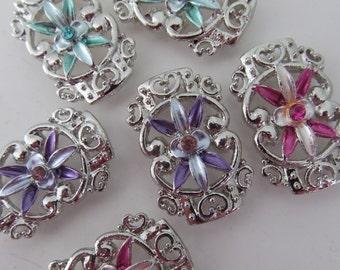 "Large Rhinestone Star Flower ""Sliders"" In Silver Finding"