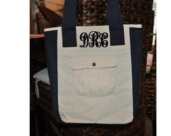 Monogrammed Personalized Great Teacher Gift Durable Canvas Book or Laptop Bag Tote School College Sorority Piano Book Back to School