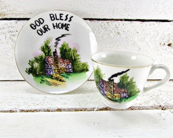 Vintage Tea-Cup and Saucer Set, God Bless Our Home, VICTORIA Ceramics, Hand-Painted JAPANESE Tea-Cup, 1960s Christian Religious Decor