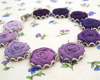 Purple Fabric Flower Bracelet - Amethyst, Berry & Crocus Roses - Purple Ombre