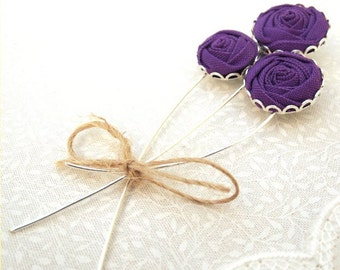 Purple Flower Boutonniere for the Groom - Fabric Rose Lapel Pin in Amethyst