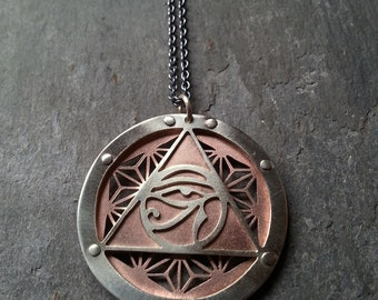 Asanoha Eye of Ra Pendant - triple layer sterling silver and copper - Handcrafted Sacred Geometry Jewellery