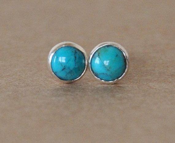 Turquoise stud Earrings handmade with Sterling Silver settings, 4 mm gemstone and silver studs, December birthstone, birthday gift, jewelry