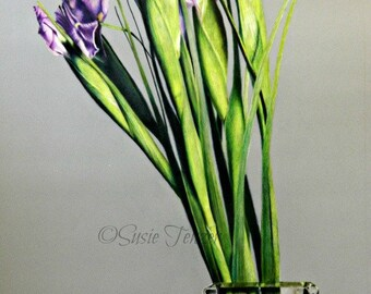 Flower Drawing Purple Iris Glass Vase Original Artwork Free Shipping