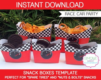 Race Car Party Snack Boxes Template - INSTANT DOWNLOAD - PDF digital file - Race Car Birthday Party Printables