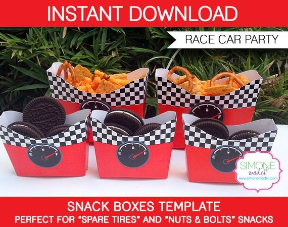 Race Car Party Snack Boxes Template Instant Download Pdf