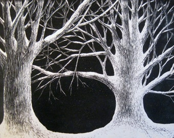 Two Trees in Snow: Original scratchbord drawing