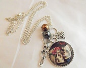 Silver Pendant Necklace,  Gothic Wedding Skeleton Couple Image,  Charms And Pearls