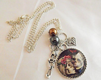 Silver Pendant Necklace,  Gothic Wedding Skeleton Couple Image, With Charms And Pearls Womens Gift  Handmade
