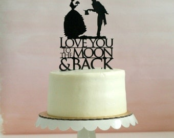 Silhouette Wedding Cake Topper - To the Moon and Back - Victorian / Vintage Inspired