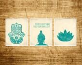 Namaste Set 3 Prints Hamsa, Buddha and Lotus Art Prints Modern Yoga Zen Meditation Buddha quote Inspirational Living Room Prints