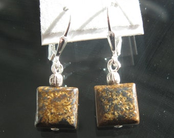 Bronzite and Thai Hill Tribes silver earrings