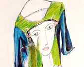 """Original Drawing """"Face Shirt""""  Ink and Oil Pastel Art on Paper"""