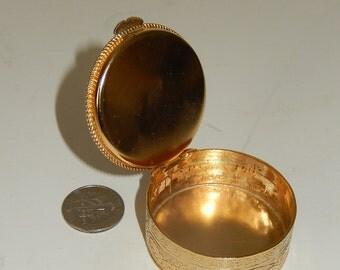 Vintage Pill box-Gem Stone Top-vintage ring box-gold tone metal stash box-trinket box-round container-mini storage container-1960s