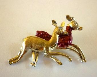 Deer Figural Brooch, Pair of Running Deer, Vintage Christmas Jewelry