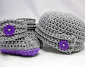 Crochet Pattern -- Buttoned Up Baby Beanie and Booties Gift Set -- Crochet Pattern