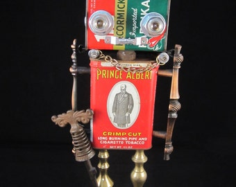 Damien Devil IV Bot - found object robot sculpture assemblage by Cheri Kudja with Bitti Bots