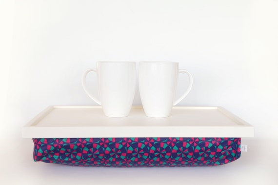 Serving tray with pillow, iPad stand, laptop stand - Off white with Pink, Navy and Mint