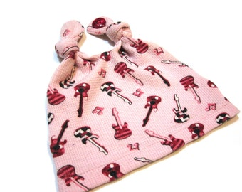 Baby Hat - Pink Electric Guitars & Musical Notes - Double Top Knot Cotton Thermal Infant Cap with Button - Small