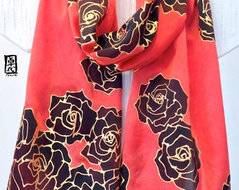 Silk Scarf Handpainted, Gift for her, Red and Black Scarf, Black and Gold Kimono Roses Scarf, Large Silk Scarf, Silk Satin, 14x72 inches.
