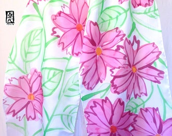 Hand Painted Large Silk Scarf, Pink Spring Painted Petals Scarf. Pink Silk Scarf. Handmade in USA. 14x72 inches.