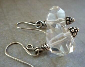 Crystal Quartz & Sterling Silver Earrings - Chunky Facet Rock Crystal Quartz Beaded Earrings