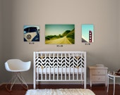 custom nursery art // nursery wall art // california nursery art // surfer nursery - set of three photographs on canvas