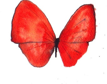 """super end of year SALE bright scarlet red butterfly original watercolour painting 7 x 5"""""""
