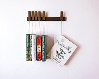 MINI Custom made wooden book rack / bookshelf in Walnut.