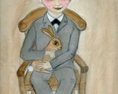 Nicolas and the Brown Bunny - Victorian Orphan Boy Watercolor Portrait Illustration (6 x 8) Victorian Goth Boy Art Print