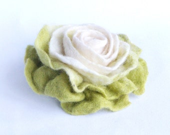 Green flower brooch, hand felted from natural wool, soft multicolor green white floral pin