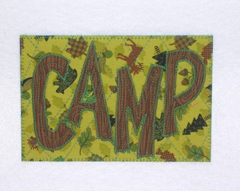 CAMP CAMPING WOODS Postcard Birthday Card Him Her Friend Thank You Housewarm Cabin Kitchen Bath Hello Frame  4x6 fabric quilted appliqued