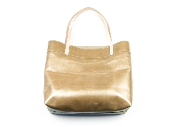 Gold Leather Tote Bag. Gold Leather tote. Metallic Shoulder bag. Gold Leather Hand Bag.