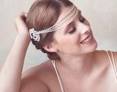 Bridal Headpiece, Crystal Bridal Forehead band, Headband, crystal tiara, Wedding Hair Accessories, crystal headpiece, crystal forehead piece